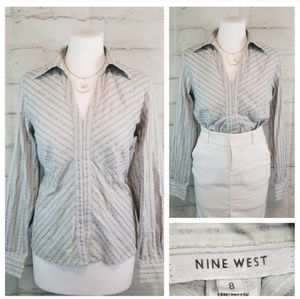 Nine West 8 Gray Floral Embroidered Peplum Blouse